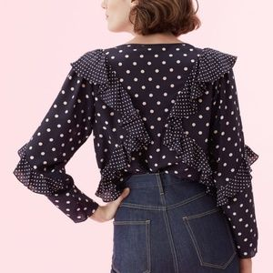 Rebecca Taylor Tops - 🆕Rebecca Taylor Silk Dot Print Ruffle Top Blouse